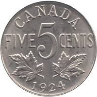 1924 Canada 5-cents UNC+ (MS-62) $
