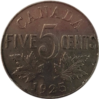 1925 Canada 5-cents F-VF (F-15) $