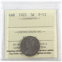 1925 Canada 5-Cents ICCS Certified F-12