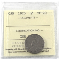 1925 Canada 5-Cents ICCS Certified VF-20