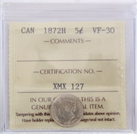 1872H Canada 5-Cents ICCS Certified VF-30