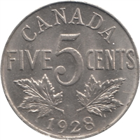 1928 Canada 5-cents UNC+ (MS-62)