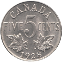 1928 Canada 5-cents Uncirculated (MS-60)