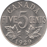 1929 Canada 5-cents UNC+ (MS-62)