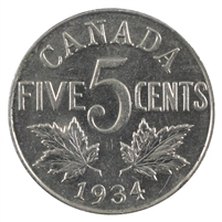 1934 Canada 5-cents Almost Uncirculated (AU-50)