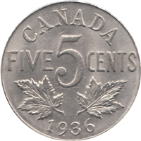 1936 Canada 5-cents Brilliant Uncirculated (MS-63)