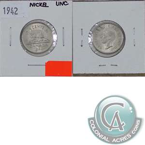 1942 Nickel Canada 5-cents Uncirculated (MS-60)
