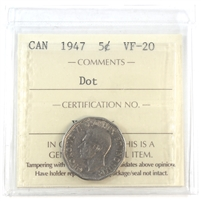 1947 Canada 5-Cents ICCS Certified VF-20 Dot