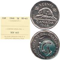 1948 Canada 5-cents ICCS Certified MS-65