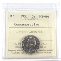 1951 Canada 5-cents ICCS Certified MS-64 Commemorative