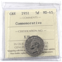 1951 Canada Commemorative 5-cents ICCS Certified MS-65