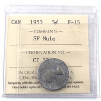 1953 SF Mule Canada 5-cents ICCS Certified F-15