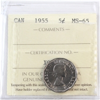 1955 Canada 5-cents ICCS Certified MS-65