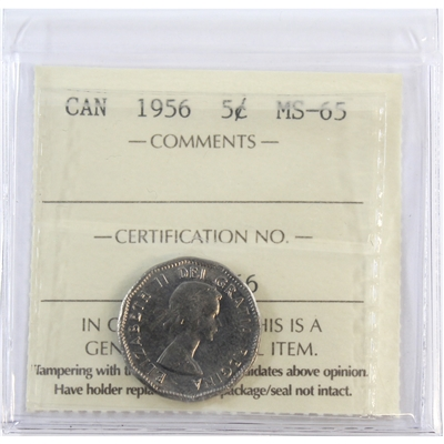 1956 Canada 5-cents ICCS Certified MS-65
