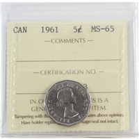 1961 Canada 5-cents ICCS Certified MS-65
