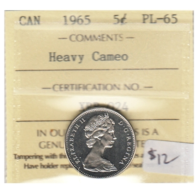 1965 Canada 5-cents ICCS Certified PL-65 Heavy Cameo