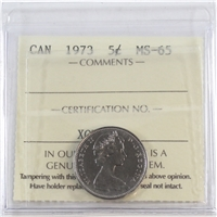 1973 Canada 5-cents ICCS Certified MS-65