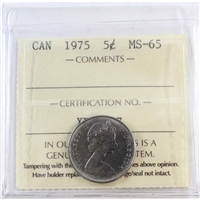 1975 Canada 5-cents ICCS Certified MS-65