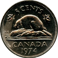 1974 Canada 5-cents Brilliant Uncirculated (MS-63)