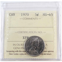 1970 Canada 5-cents ICCS Certified MS-65