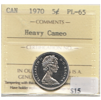 1970 Canada 5-cents ICCS Certified PL-65 Heavy Cameo