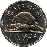 1981 Canada 5-cents Brilliant Uncirculated (MS-63)