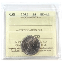 1987 Canada 5-cents ICCS Certified MS-64