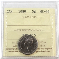 1989 Canada 5-Cents ICCS Certified MS-65
