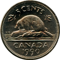 1990 Canada 5-cents Brilliant Uncirculated (MS-63)