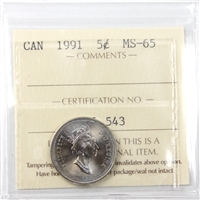 1991 Canada 5-Cents ICCS Certified MS-65
