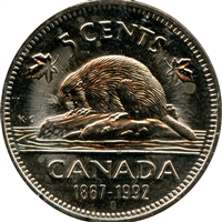 1992 Canada 5-cents Brilliant Uncirculated (MS-63)