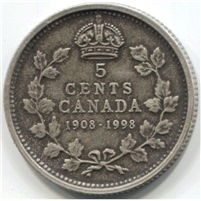 1998 (1908-1998) Antique Canada 5-cents Proof