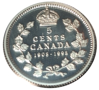1998 (1908-1998) Commem. Canada 5-cents Proof