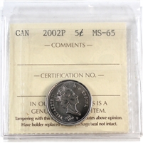 2002P Canada 5-cents ICCS Certified MS-65