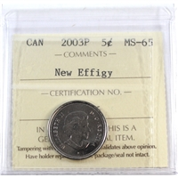 2003P Canada New Effigy 5-cents ICCS Certified MS-65