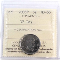 2005P VE Day Canada 5-cents ICCS Certified MS-65