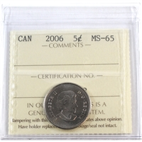 2006 Canada 5-cents ICCS Certified MS-65