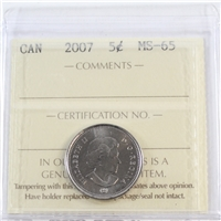 2007 Canada 5-cents ICCS Certified MS-65