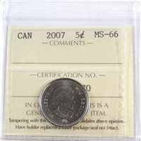 2007 Canada 5-cents ICCS Certified MS-66