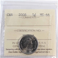 2008 Canada 5-cents ICCS Certified MS-66