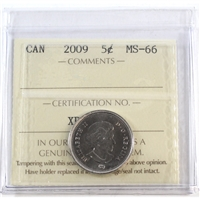 2009 Canada 5-cents ICCS Certified MS-66