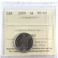 2009 Canada 5-cents ICCS Certified MS-65