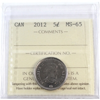 2012 Canada 5-cents ICCS Certified MS-65