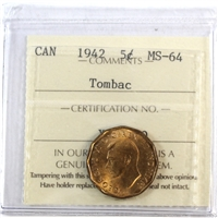 1942 Tombac Canada 5-cents ICCS Certified MS-64