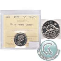 1970 Canada 5-cents ICCS Certified PL-65 Ultra Heavy Cameo