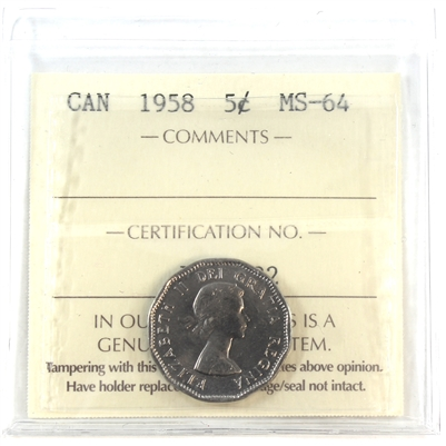 1958 Canada 5-cent ICCS Certified MS-64