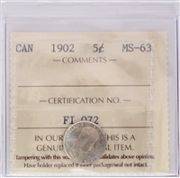 1902 Canada 5-cent ICCS Certified MS-63 (FI 072)