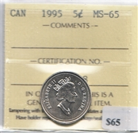 1995 Canada 5-cent ICCS Certified MS-65
