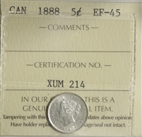 1888 Canada 5-cents ICCS Certified EF-45