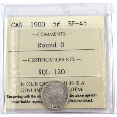 1900 Round O Canada 5-cents ICCS Certified EF-45